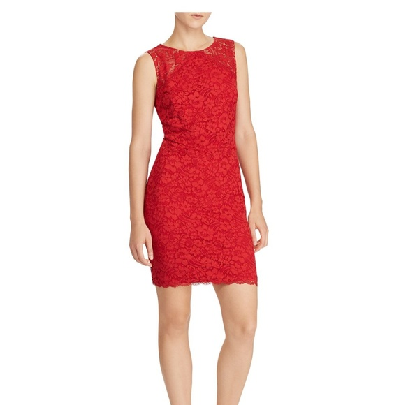 NWT Lauren Ralph Lauren Pink Lace Cocktail Sheath Dress Sz 6 8 10 12 NEW $170